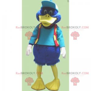 Little blue duck mascot with cap and jacket - Redbrokoly.com