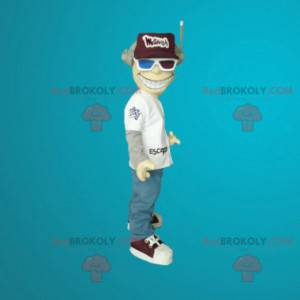 Mascot man with a helmet and 3D glasses - Redbrokoly.com