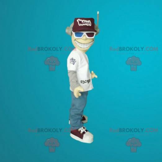 Maskotmann med hjelm og 3D-briller - Redbrokoly.com