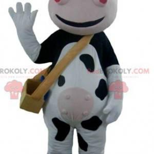 Velmi usměvavý černobílý a růžový maskot krávy - Redbrokoly.com