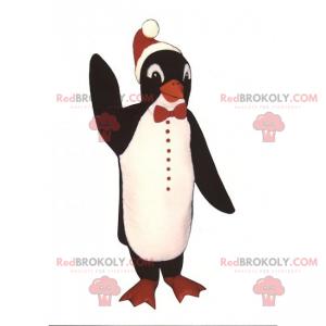 Pingvin maskot med julehatt - Redbrokoly.com