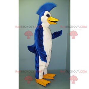 Blue and white penguin mascot with a crest - Redbrokoly.com