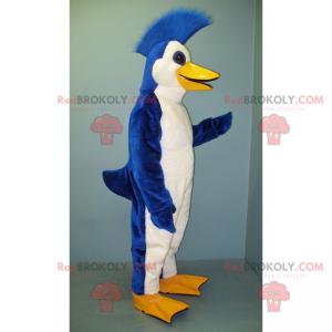 Modrý a bílý tučňák maskot s hřebenem - Redbrokoly.com
