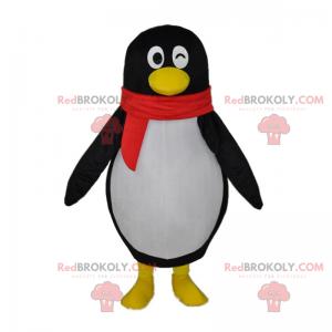Mrugający pingwin maskotka i czerwony szalik - Redbrokoly.com