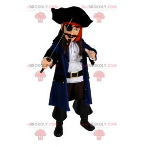 Pirát maskot s mečem - Redbrokoly.com