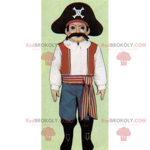 Piratmaskot med overskæg - Redbrokoly.com