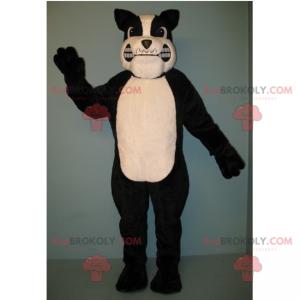 Czarno-biała maskotka wściekły pit bull - Redbrokoly.com