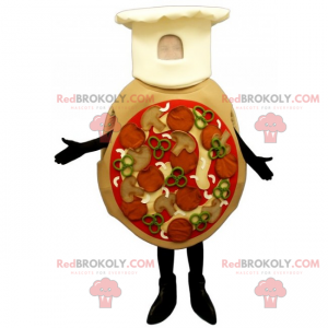 All dressed pizza mascot with chef hat - Redbrokoly.com