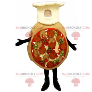 Mascote da pizza todo vestido com chapéu de chef -
