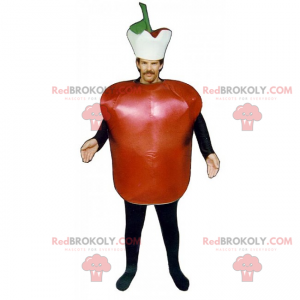 Red apple mascot with hat - Redbrokoly.com