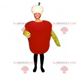 Czerwone jabłko maskotka z jego robakiem - Redbrokoly.com