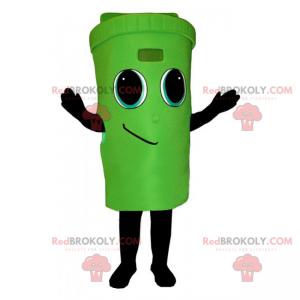 Zelený koš maskot s úsměvem tvář - Redbrokoly.com