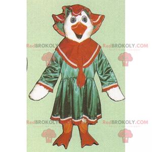 Maskot bílá slepice v šatech a klobouku - Redbrokoly.com