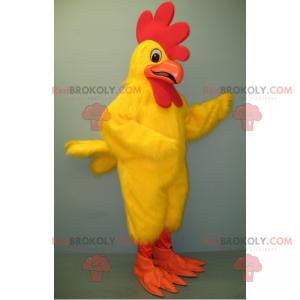 Maskottchen gelbes Huhn und orange Schnabel - Redbrokoly.com