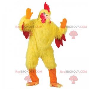 Mascot yellow chicken and red crest - Redbrokoly.com