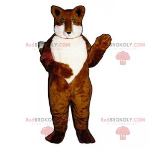 Fuchsmaskottchen mit weißem Bauch und grünen Augen -