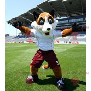 Fuchsmaskottchen mit grünen Augen und Sportbekleidung -