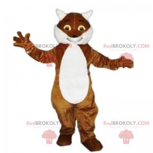 S úsměvem maskot hnědá a bílá liška - Redbrokoly.com