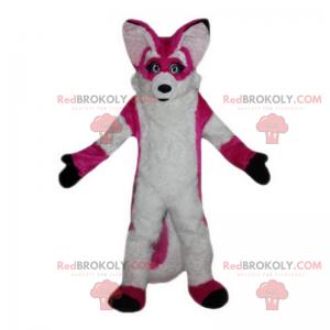 Růžová a bílá liška maskot - Redbrokoly.com