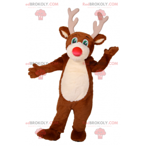 Reindeer mascot with red nose and green eyes - Redbrokoly.com