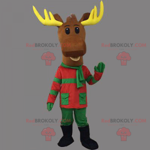 Christmas reindeer mascot in green and red outfit -