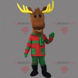 Vánoční sobí maskot v zeleném a červeném oblečení -