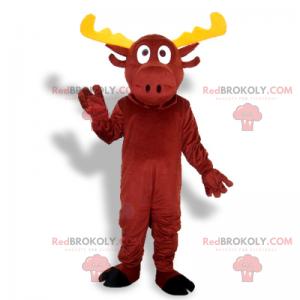 Rød rein maskot med gule gevir - Redbrokoly.com