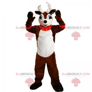 Reindeer mascot with red bell collar - Redbrokoly.com