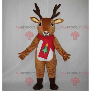 Reindeer mascot with Christmas scarf - Redbrokoly.com