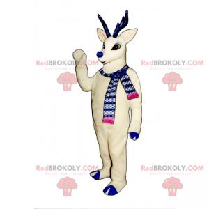 Weißes Rentiermaskottchen mit blauer Nase - Redbrokoly.com