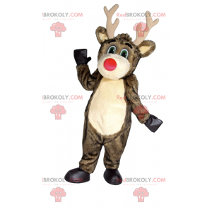 Santa Claus reindeer mascot with a red nose - Redbrokoly.com