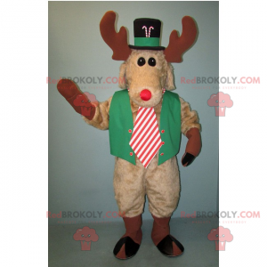 Reindeer mascot dressed for the holidays - Redbrokoly.com