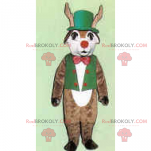 Reindeer mascot in green outfit and red nose - Redbrokoly.com