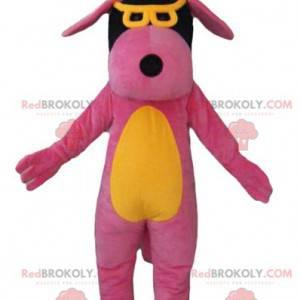 Gelbes und schwarzes rosa Hundemaskottchen mit Brille -