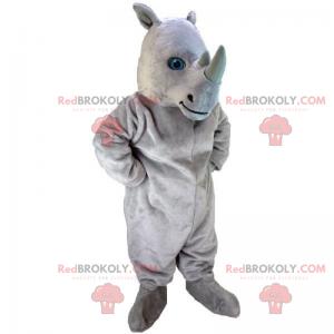 Næsehorn maskot med blå øjne - Redbrokoly.com