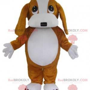 Roztomilý a dojemný hnědý a bílý pes maskot - Redbrokoly.com