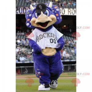 Fialový maskot nosorožce ve sportovním oblečení - Redbrokoly.com