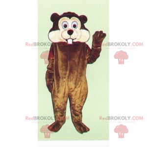 Rodent mascot with big cheeks and big teeth - Redbrokoly.com