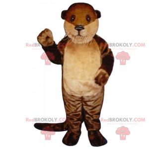 Mascotte lontra con lunghi baffi bianchi - Redbrokoly.com