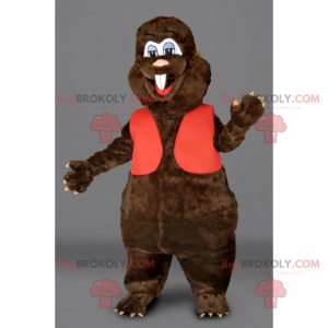 Rodent mascot with red jacket - Redbrokoly.com