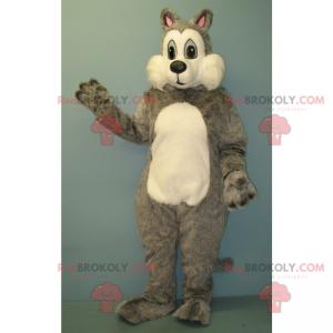 Mascota ardilla gris y blanca - Redbrokoly.com