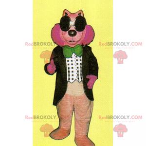 Maskotka różowy gryzoń z muszką - Redbrokoly.com