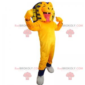Geel en blauw slang mascotte - Redbrokoly.com