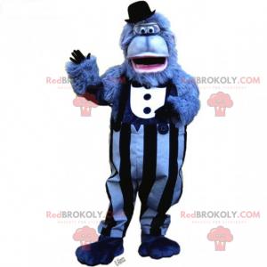 Maskot modrá opice s kostým a klobouk - Redbrokoly.com