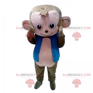 Szaro-różowa małpa maskotka z niebieską kurtką - Redbrokoly.com