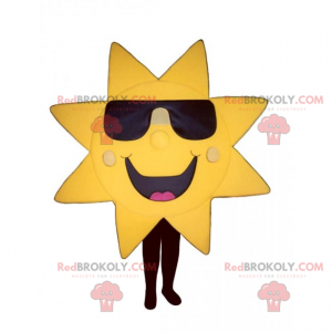 Sun mascot with dark glasses and big smile - Redbrokoly.com