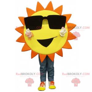 Sonnenmaskottchen mit großer Brille und Lächeln - Redbrokoly.com