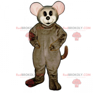 Myš maskot s kulatými ušima a růžové - Redbrokoly.com