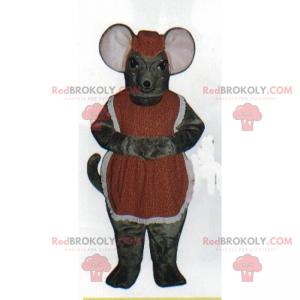 Maskotka myszy z fartuchem i okrągłymi okularami -