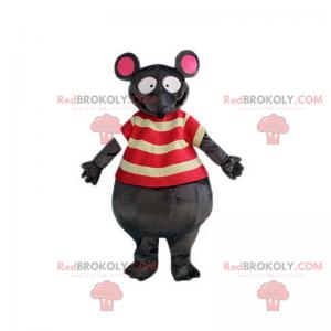 Musmaskot med stripete t-skjorte - Redbrokoly.com